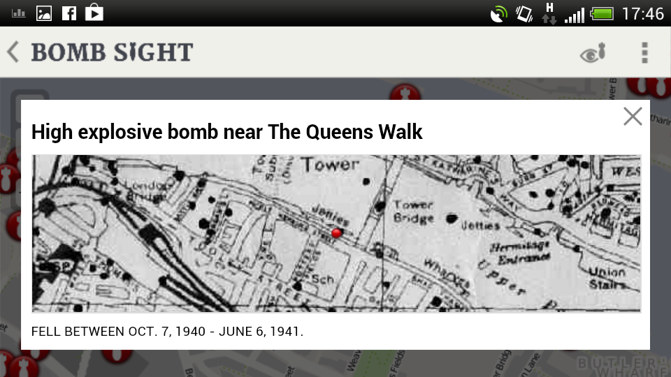 Screenshot of the location on the original bomb census