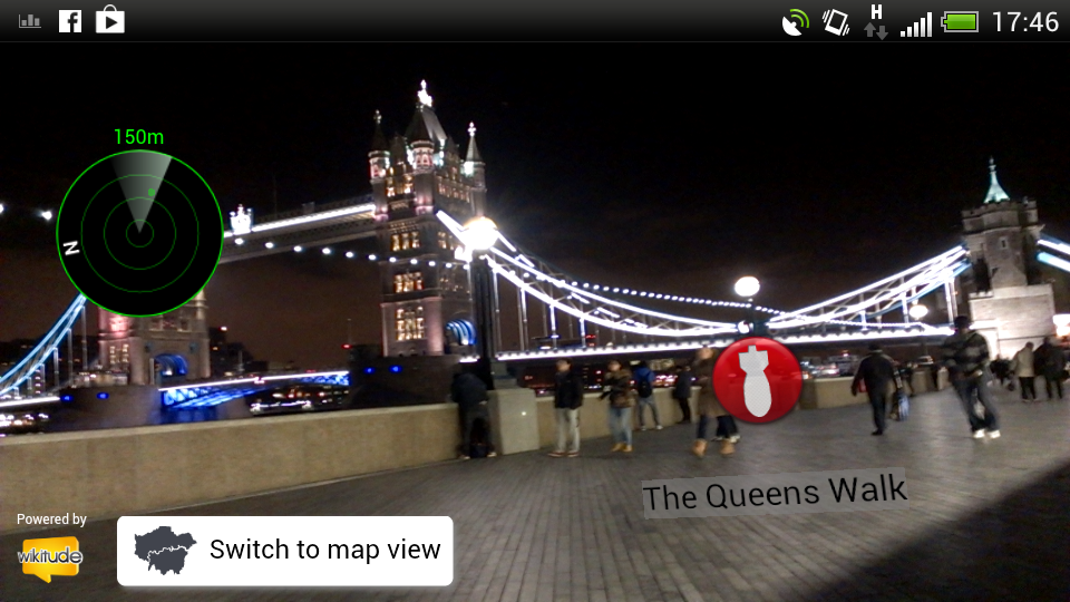 Screenshot of the augmented reality view